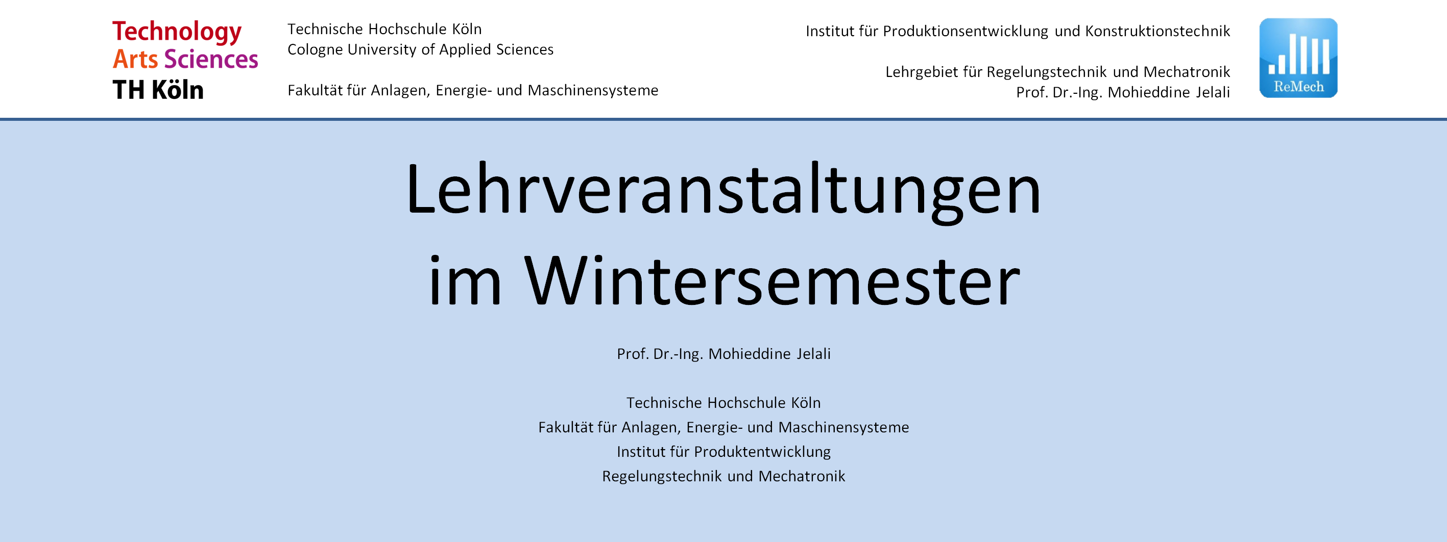 Courses in winter semester